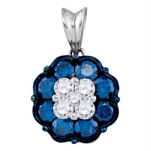 10kt White Gold Womens Round Blue Color Enhanced Diamond Cluster Pendant 1.00 Cttw