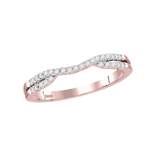 14kt Rose Gold Womens Round Diamond Contoured Enhancer Wedding Band Ring 1/6 Cttw