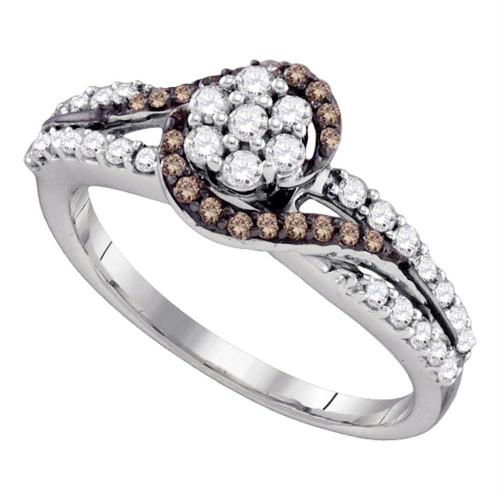 10k White Gold Cognac-brown Color Enhanced Diamond Flower Cluster Bridal Ring 1/2 Cttw
