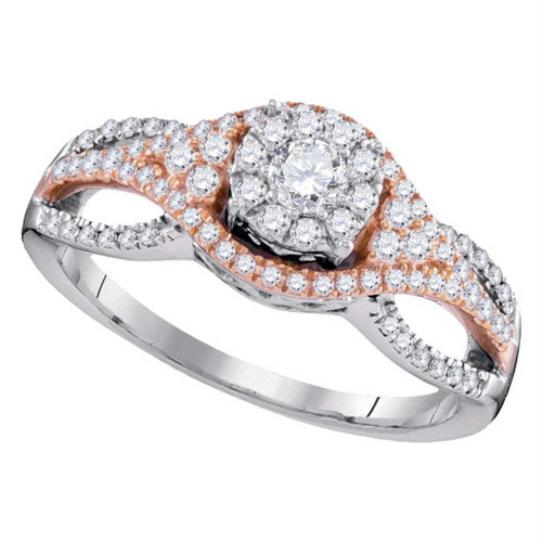 10kt Two-tone Gold Womens Round Diamond Cluster Bridal Wedding Engagement Ring 1/2 Cttw