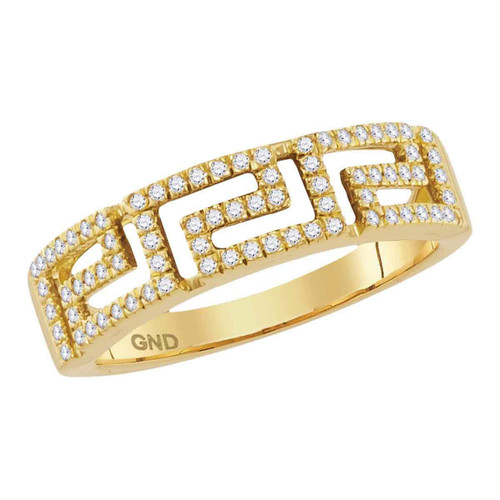 10kt Yellow Gold Womens Round Diamond Greek Key Band Ring 1/5 Cttw