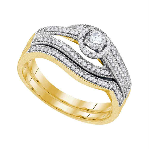 10kt Yellow Gold Womens Round Diamond Halo Bridal Wedding Engagement Ring Band Set 3/8 Cttw