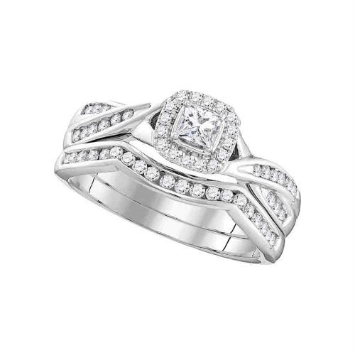 10k White Gold Womens Princess Diamond Halo Bridal Wedding Engagement Ring Band Set 1/2 Cttw