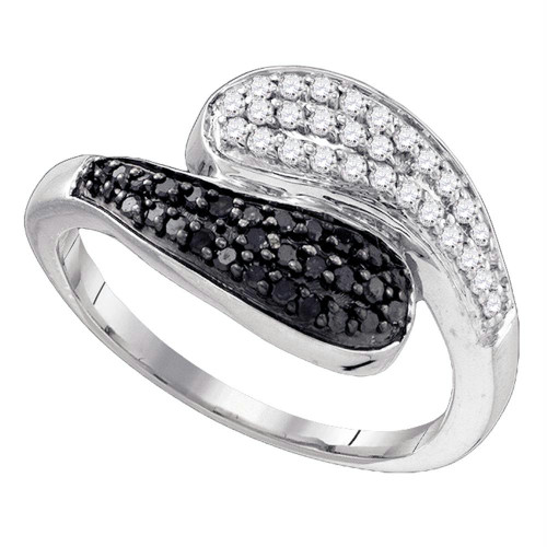10kt White Gold Womens Round Black Color Enhanced Diamond Bypass Band Ring 1/2 Cttw