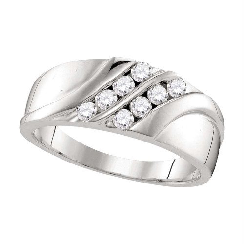 10kt White Gold Mens Round Diamond Wedding Band Ring 1/2 Cttw - 107453-12