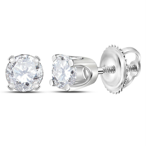 14kt White Gold Unisex Round Diamond Solitaire Stud Earrings 1/4 Cttw