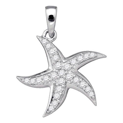10k White Gold Round Diamond Womens Unique Star Starfish Estrella Pendant 1/4 Cttw