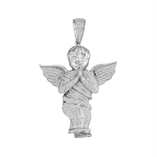 10kt White Gold Mens Round Diamond Angel Cherub Charm Pendant 1.00 Cttw
