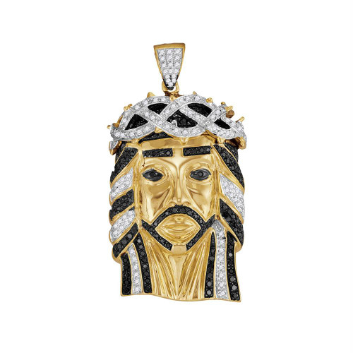 10kt Yellow Gold Mens Round Black Color Enhanced Diamond Jesus Christ Messiah Head Charm Pendant 1-1/4 Cttw