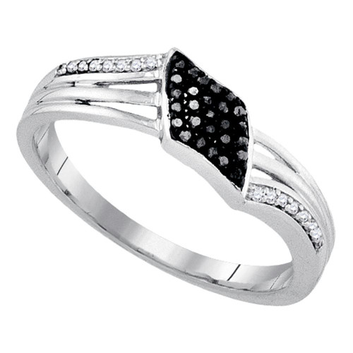 Sterling Silver Womens Round Black Color Enhanced Diamond Band Ring 1/10 Cttw