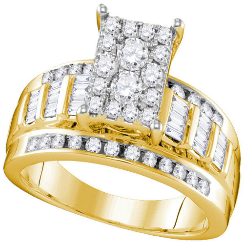 10kt Yellow Gold Womens Round Diamond Rectangle Cluster Bridal Wedding Engagement Ring 7/8 Cttw - Size 9