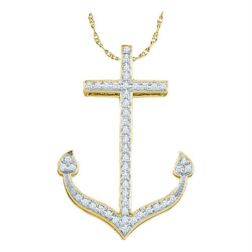 10k Yellow Gold Round Diamond Womens Anchor Nautical Pendant 1/6 Cttw