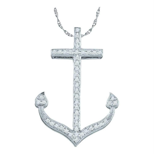 10kt White Gold Womens Round Diamond Anchor Nautical Ocean Pendant 1/6 Cttw