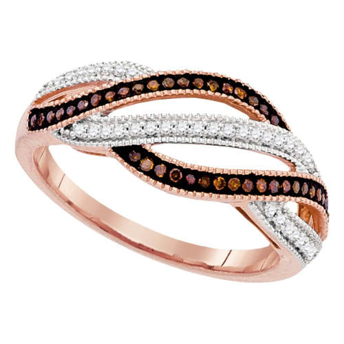 10kt Rose Gold Womens Round Red Color Enhanced Diamond Fashion Band Ring 1/4 Cttw