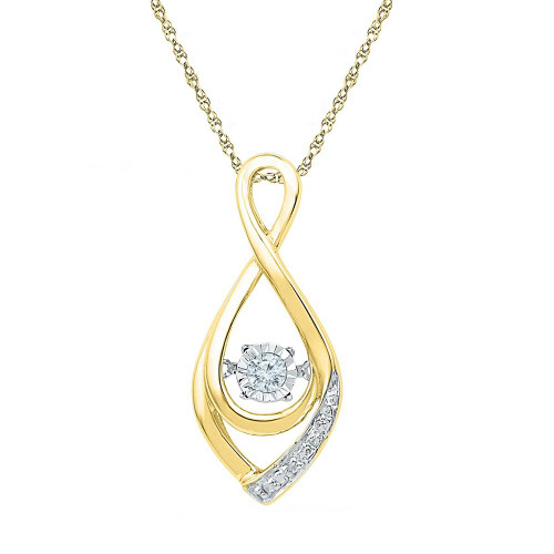 10kt Yellow Gold Womens Round Diamond Moving Twinkle Solitaire Teardrop Pendant 1/20 Cttw