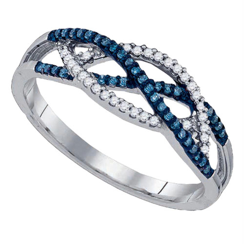 10kt White Gold Womens Round Blue Color Enhanced Diamond Crossover Band Ring 1/5 Cttw
