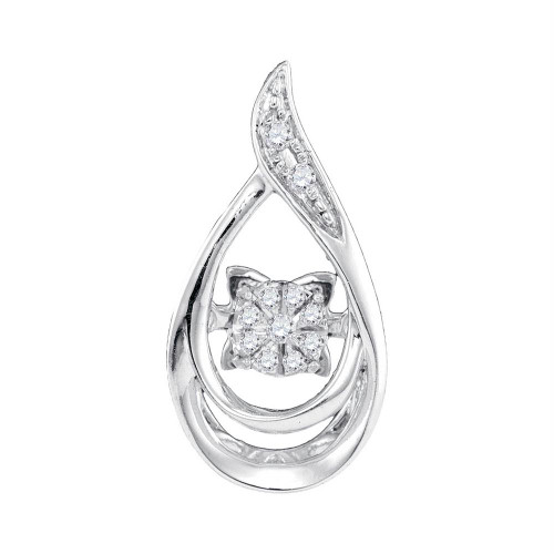 10kt White Gold Womens Round Diamond Moving Twinkle Solitaire Teardrop Pendant 1/20 Cttw - 98897