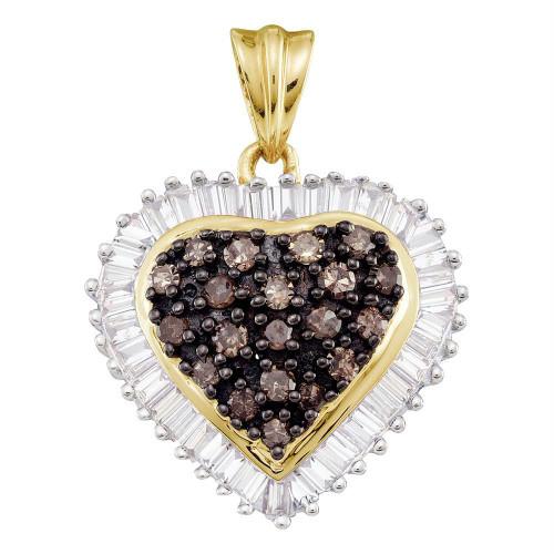 10kt Yellow Gold Womens Round Cognac-brown Color Enhanced Diamond Heart Cluster Pendant 1.00 Cttw