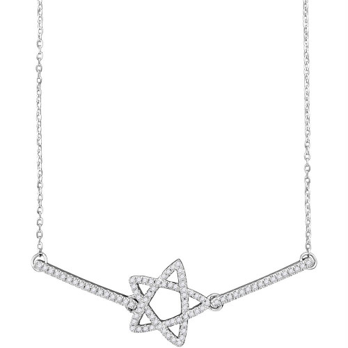 10kt White Gold Womens Round Diamond Star Chain Bracelet 1/5 Cttw