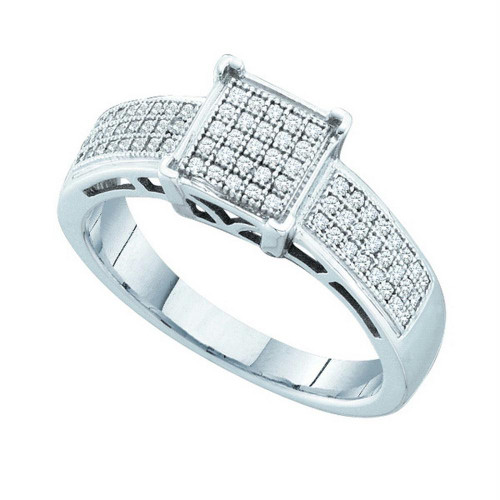 10kt White Gold Womens Round Diamond Square Cluster Bridal Wedding Engagement Ring 1/5 Cttw - 49847