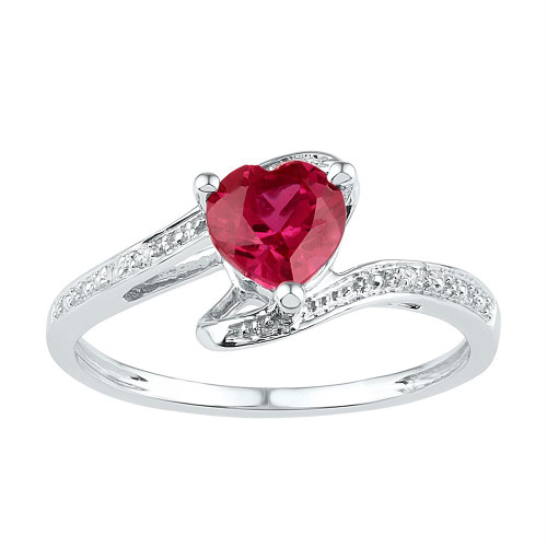 Sterling Silver Womens Heart Lab-Created Ruby Solitaire Diamond Ring 1-1/10 Cttw