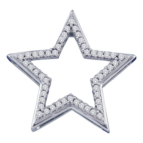 10kt White Gold Womens Round Diamond Star Frame Outline Pendant 1/6 Cttw