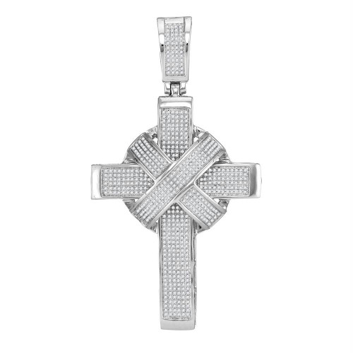 10kt White Gold Mens Round Diamond Bound Roman Cross Charm Pendant 1-3/4 Cttw