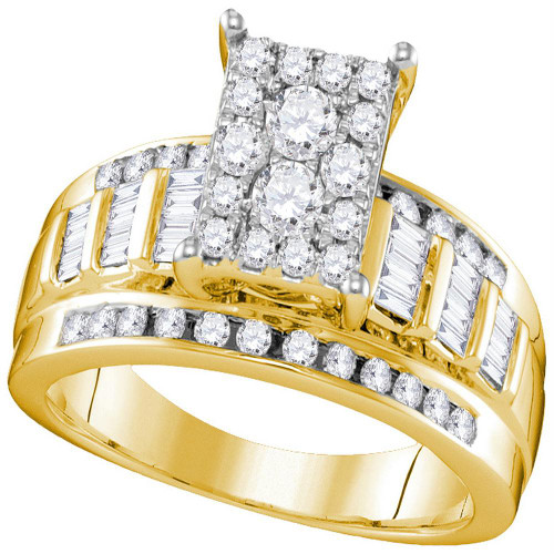 10kt Yellow Gold Womens Round Diamond Rectangle Cluster Bridal Wedding Engagement Ring 7/8 Cttw - Size 6