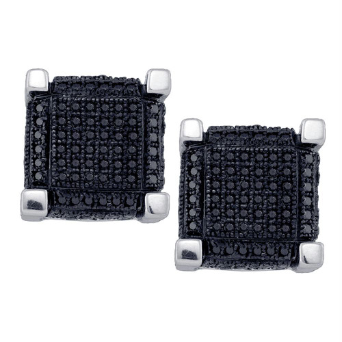 10kt White Gold Mens Round Black Color Enhanced Diamond 3D Square Cube Cluster Earrings 1-1/8 Cttw