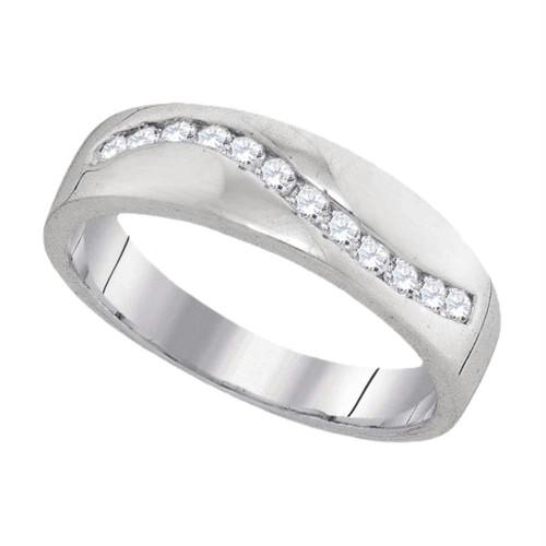 10k White Gold Round Diamond Channel-set Mens Masculine Lightweight Wedding Ring 1/4 Cttw