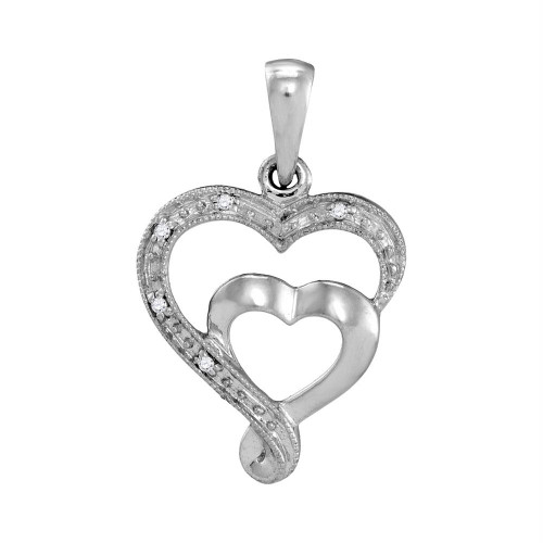 10k White Gold Womens Diamond-accent Double Heart Love Pendant .01 Cttw