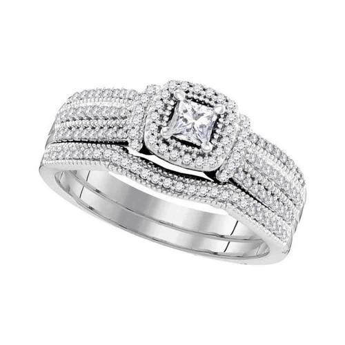 10k White Gold Princess Diamond Bridal Wedding Engagement Ring Band Set 1/2 Cttw