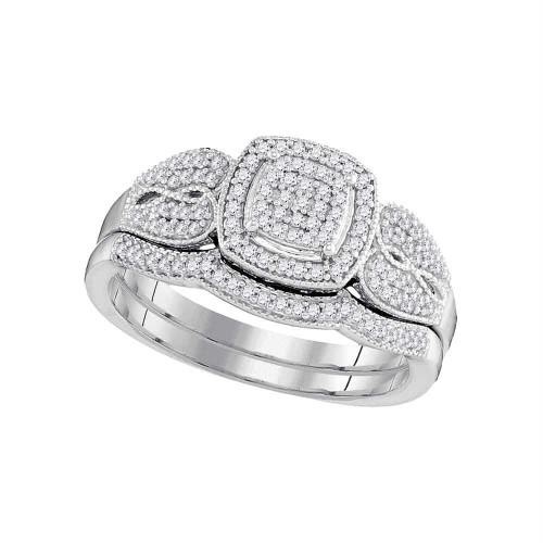 10kt White Gold Womens Round Diamond Square Bridal Wedding Engagement Ring Band Set 1/3 Cttw - 98448-6.5