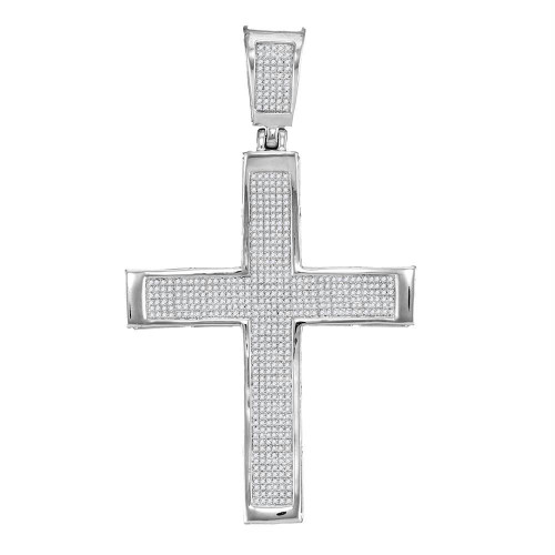 10kt White Gold Mens Round Diamond Roman Cross Charm Pendant 1-3/8 Cttw