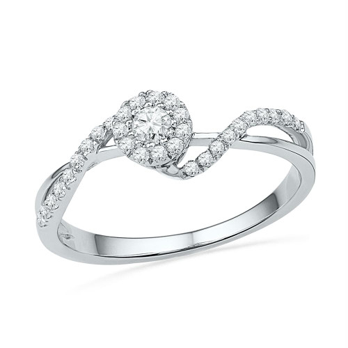 10kt White Gold Womens Round Diamond Solitaire Bridal Wedding Engagement Ring 1/4 Cttw - 100698-10.5