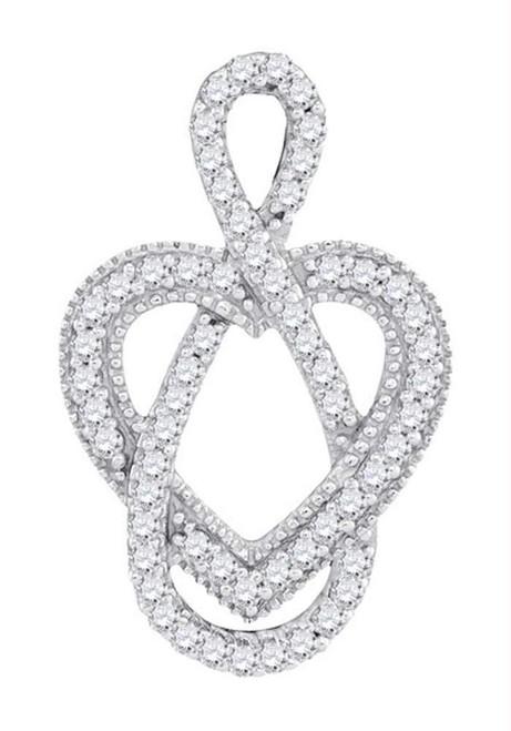 10kt White Gold Womens Round Diamond Captured Infinity Heart Pendant 1/6 Cttw