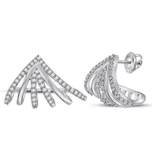 10kt White Gold Womens Round Diamond Lobe Half Hoop Earrings 3/8 Cttw