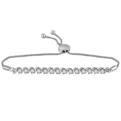 10kt White Gold Womens Round Pave-set Diamond Single Row Bolo Bracelet 1/2 Cttw