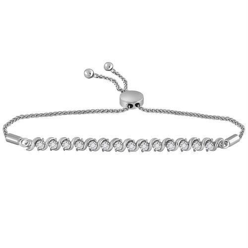 10kt White Gold Womens Round Pave-set Diamond Single Row Bolo Bracelet 1/2 Cttw