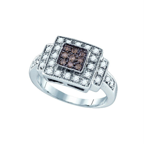 10K White Gold Womens Cognac-brown Color Enhanced Diamond Square Cluster Ring 1/2 Cttw