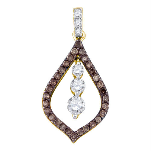 10kt Yellow Gold Womens Round Cognac-brown Color Enhanced Diamond Teardrop Journey Pendant 1/2 Cttw