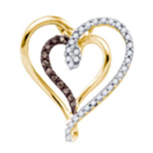 10k Yellow Gold Cognac-brown Color Enhanced Round Diamond Double Heart Love Pendant 1/4 Cttw