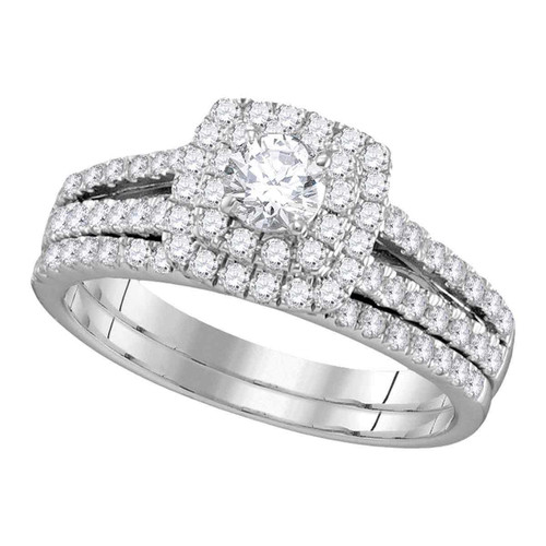 14kt White Gold Womens Round Diamond Halo Bridal Wedding Engagement Ring Band Set 1.00 Cttw (Certified)