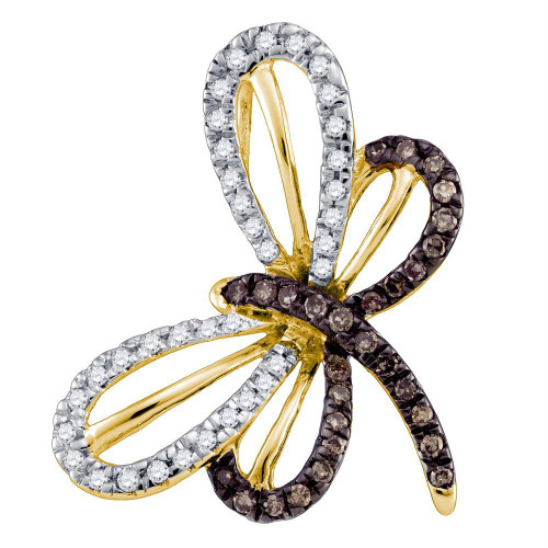 10kt Yellow Gold Womens Round Cognac-brown Color Enhanced Diamond Butterfly Bug Pendant 1/4 Cttw