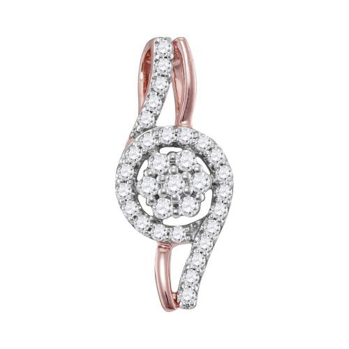10kt Rose Gold Womens Round Diamond Flower Cluster Pendant 1/3 Cttw