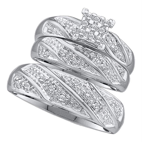 10k White Gold Diamond Cluster Womens Mens Matching Trio Wedding Engagement Bridal Ring Set 1/4 Cttw