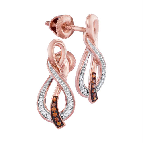 10kt Rose Gold Womens Round Red Color Enhanced Diamond Infinity Stud Earrings 1/12 Cttw