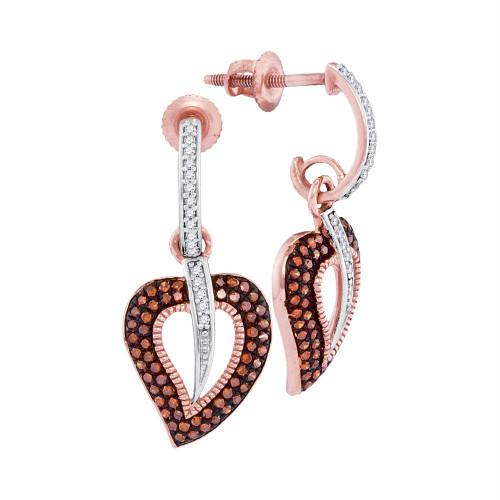 10kt Rose Gold Womens Round Red Color Enhanced Diamond Heart Dangle Screwback Earrings 3/8 Cttw