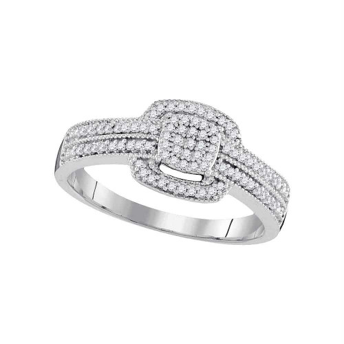 10kt White Gold Womens Round Diamond Square Cluster Bridal Wedding Engagement Ring 1/5 Cttw - 98432