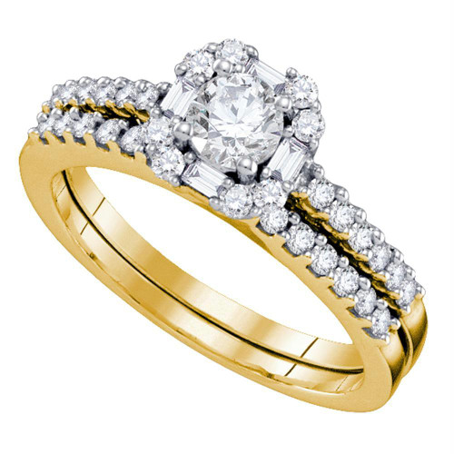 14kt Yellow Gold Womens Round Diamond Slender Halo Bridal Wedding Engagement Ring Band Set 3/4 Cttw